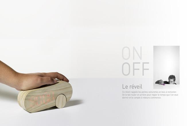 réveil en bois design